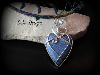 Blue Quartz Heart Sterling Silver Pendant