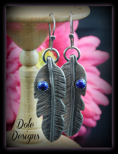 Blue Lapis Lazuli Feather Earrings