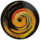 A circular image of a colourful, stylized swirl