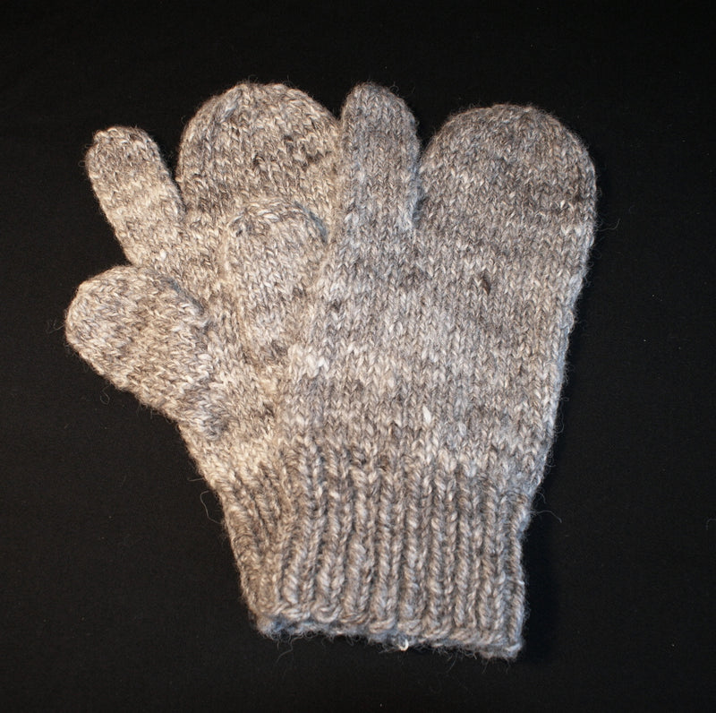 Natural brey mittens handknit with a seperate thumb and finger