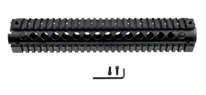 "12"" Black Two Piece Quad Rail Handguard For Triangle End Cap - 3CR Tactical"