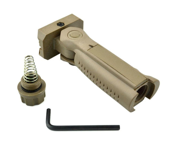 Tan Tactical 5-Position Folding Vertical Foregrip For Picatinny Rail Mount - 3CR Tactical
