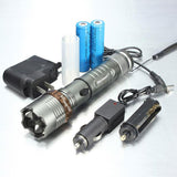 Tactical T6 LED Zoom Flashlight Torch Rechargeable + 18650 Battery + Charger - 3CR Tactical