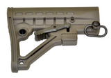 Green Mil-Spec Adjustable A-frame Butt Stock with Quick Detach Sling Swivel Mount - 3CR Tactical