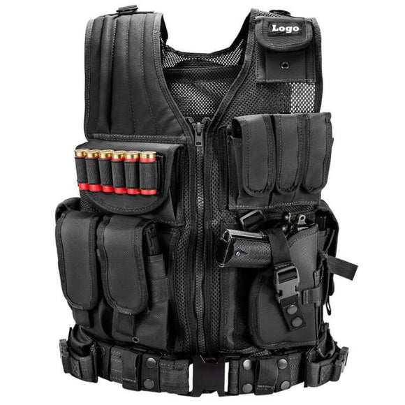 Military Combat Security Load Bearing Tactical Vest With Universal Cross Draw Pistol Holster Utility Belt Mesh Design - 3CR Tactical