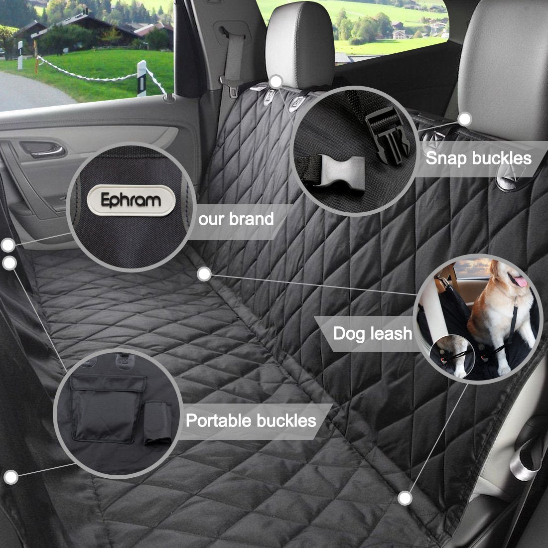 premium hammock cover dog asp cars backseat safety belt waterproof seat suvs p car