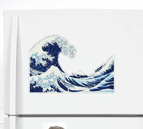 The Great Wave of Kanagawa Oversized Sticker pictured on a refrigerator - The Ultimate Sticker Gift Guide