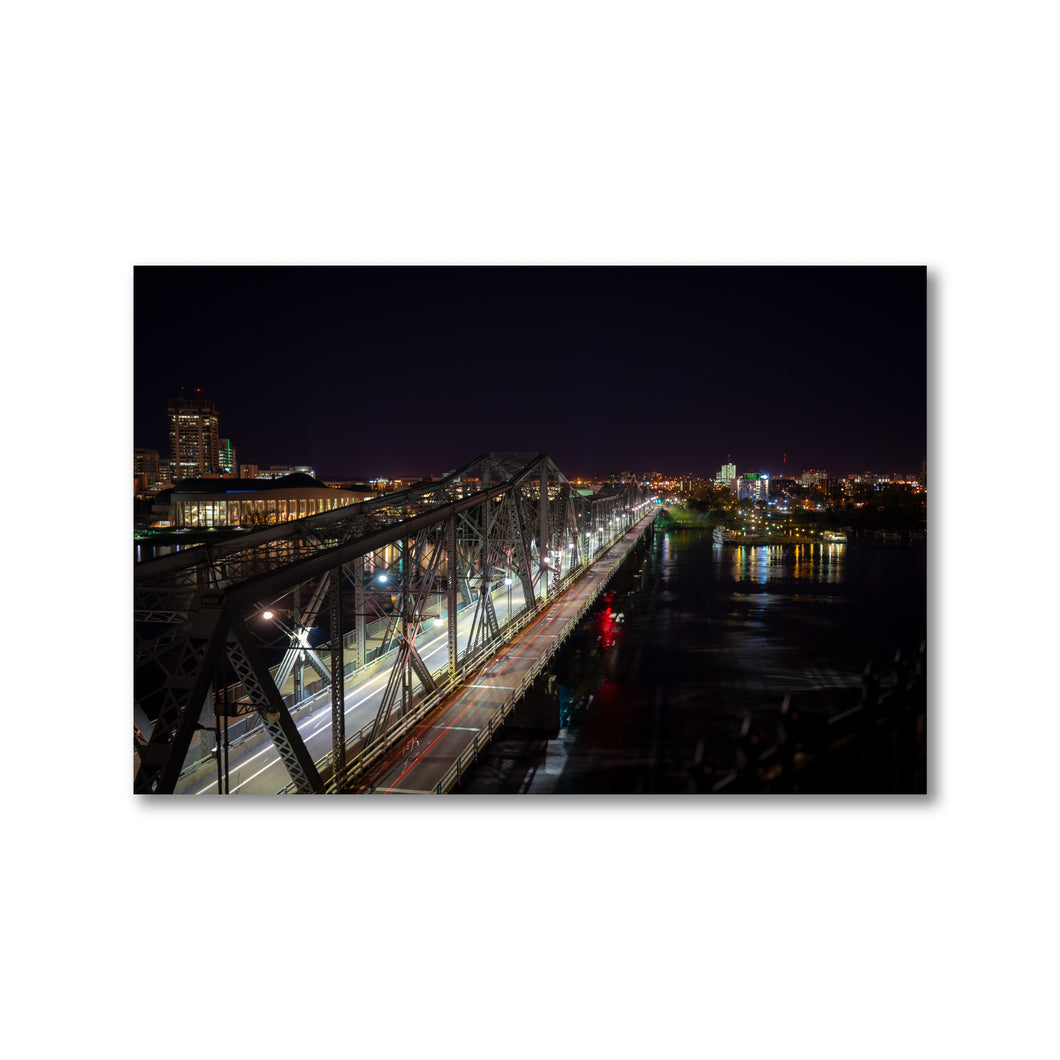 Ottawa Gatineau Inter-Provincial Alexandra Bridge at Night - Long Exposure - Wall Art Print - ZNA Creative