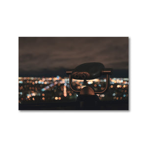 Large park binoculars overlook Montreal cityscape.  Montreal Photography fine art prints 12x18 or 24x36 - ZNA Creative