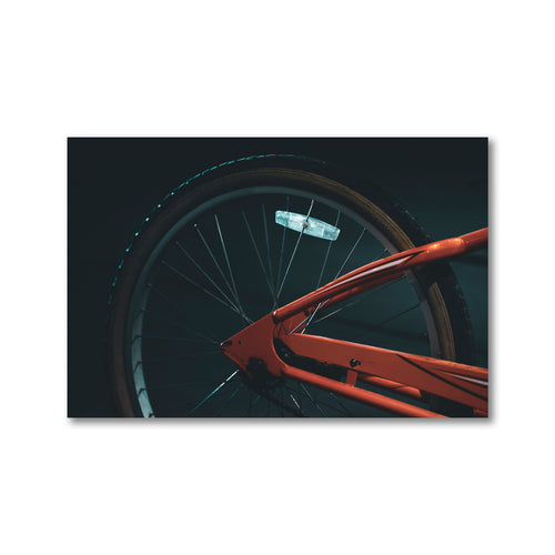 The stranger tones of this orange bike frame, cast against a midnight street lamp glow make for a moody and deep print.