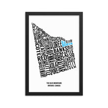 Load image into Gallery viewer, A typography map of The Town of The Blue Mountains and each of the neighbourhoods and boroughs within.  This 12x12 framed matte paper print is perfect for any chalet, cottage or home.  Canadian map art.