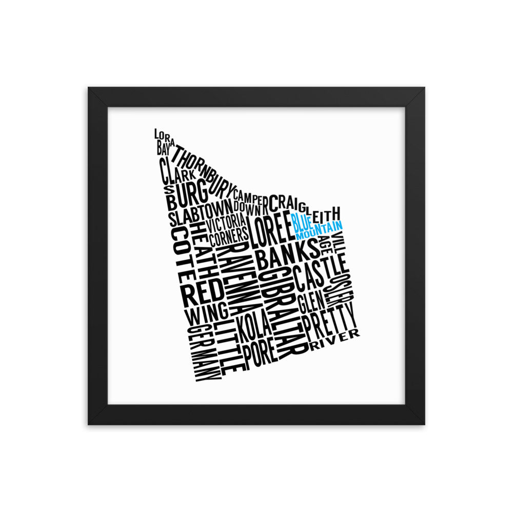A typography map of The Town of The Blue Mountains and each of the neighbourhoods and boroughs within.  This 12x12 framed matte paper print is perfect for any chalet, cottage or home.  Canadian map art.