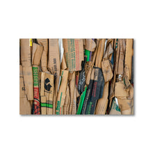 Load image into Gallery viewer, Side view of a bundle of compressed brown cardboard boxes.  Framed Art Prints - ZNA Creative
