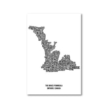 Load image into Gallery viewer, Bruce Peninsula Typography Map