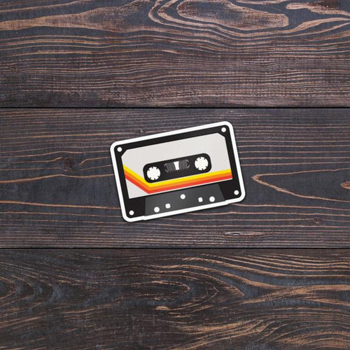 Retro tape cassette stickers with red, orange and yellow stripe design.  ZNA Creative