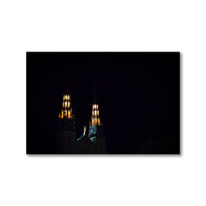 Two beautifully lit historical Ottawa church towers contrasting against the dark night sky.  Framed Art Prints - ZNA Creative
