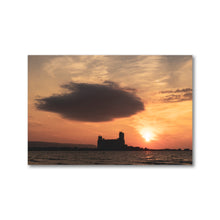 Load image into Gallery viewer, Large dark cloud looming over Collingwood Terminals during golden red sunset on Georgian Bay.  Framed sunset art prints 12x18 - ZNA Creative