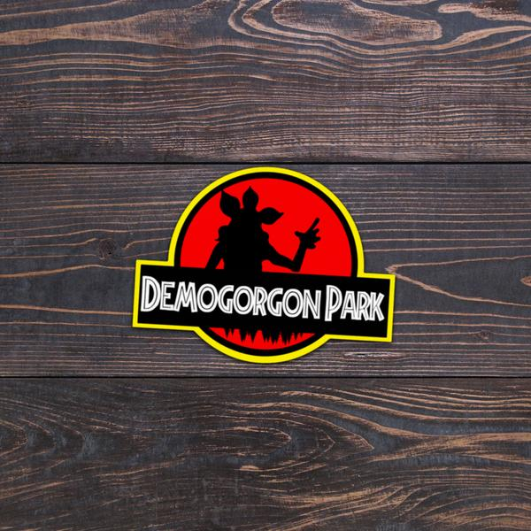 Custom made stickers.  Jurassic Park feel with a Stranger Things twist.