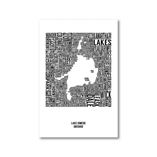 Lake Simcoe Typography Map