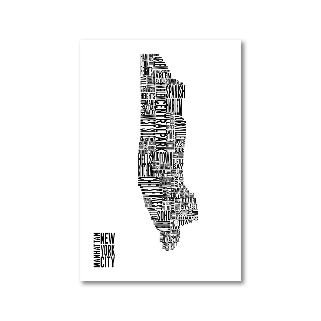 Manhattan Typography Map