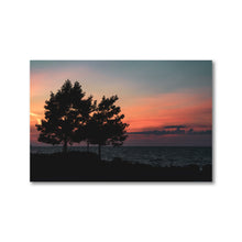 Load image into Gallery viewer, Silhouette of two large trees on Sunset Beach overlooking a beautiful sunset in Collingwood, Ontario.  Framed sunset art prints 12x18 - ZNA Creative