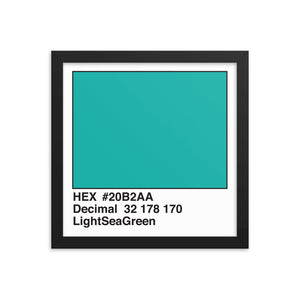 12x12 LightSeaGreen HEX print #20B2AA.  Artwork and decor for designers and developers.  Great for any workplace or home office.