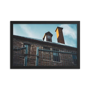 Creepy abandoned building with cold feeling chained fence in foreground.  Framed art prints 12x18 - ZNA Creative