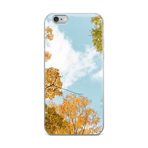 Fall treetops against a blue sky.  iPhone cases including iPhone X.  This photo was taken in Gatineau Park, in Gatineau, Quebec; just outside of Ottawa, Canada.