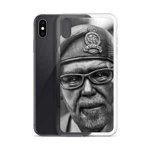 A dramatic black and white iPhone case picturing a Canadian Legion veteran.  iPhone X cases