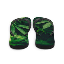Load image into Gallery viewer, Cannabis themed flip flops, with large weed fan leaves across the soles.  A black Y strap keeps the sandals fitting snugly, while keeping you looking fresh with these celebratory legalization flip flops on your feet.