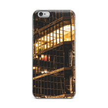 Load image into Gallery viewer, Moody yellow fluorescent lighting can be seen through the glass windows of this downtown skyscraper at night.  This urban iPhone case is perfect for anyone with a love of their city.  Trending iPhone cases