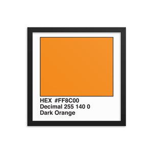 14x14 DarkOrange HEX print #FF8C00.  Artwork and decor for designers and developers.  Great for any workplace or home office.