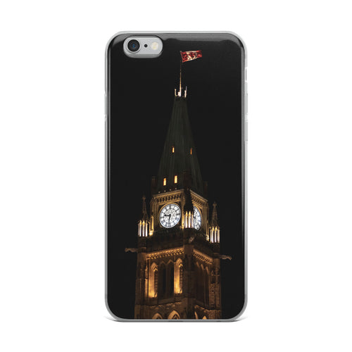 An iPhone Case with a print of The Peace Tower of Canada's Parliament, in Ottawa, Ontario at night.  A dark night sky set behind the gothic style, lit tower.  Atop a Canadian flag blows in the wind.  Ottawa, Canada iPhone Cases