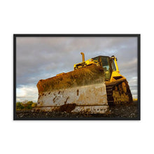 Load image into Gallery viewer, Dirty yellow bull dozer tractor with deep cloudy sky in background.  Farm and construction art.  Framed Art Prints - ZNA Creative