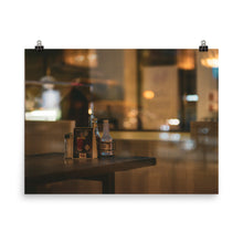 Load image into Gallery viewer, Condiments of a diner's table setting at night.  Moody bokeh reflections can be seen through the nighttime glass of the diner's front windows.  Moody posters for home decor and office decor.