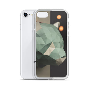 Stylish iPhone case with geometric cardboard animal against a dark black background with bokeh lights.  Popular iPhone cases made in USA. Stylish iPhone case with geometric cardboard animal against a dark black background with bokeh lights.  Popular iPhone cases made in USA.