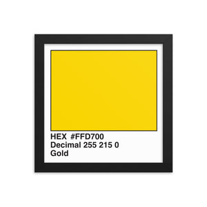 10x10 Gold HEX print #FFD700.  Artwork and decor for designers and developers.  Great for any workplace or home office.