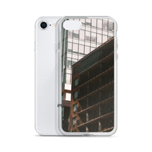 Load image into Gallery viewer, Tall buildings can be seen on this popular iPhone case.  A smaller apartment building is cast into shadows by it's taller neighbours.  City and urban theme iPhone cases