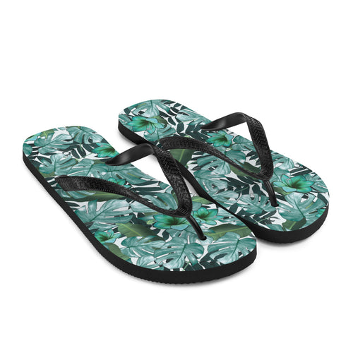 Love floral print?  Us too!  Our fresh and trendy floral print flip flops are sure to up your game at the beach or pool.  The black Y strap keeps the sandals on your feet, while providing a strong and tasteful contrast against the green and white floral print of the flip flop.  Get beach ready!