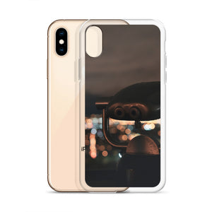A public set of pay-per-use binoculars sit atop Mont Real Park in Montreal, Quebec, overlooking the bokeh and blurry city lights in the background.  This Montreal iPhone case is a great representation of the city at night.  In this image the case is pictures off the iPhone