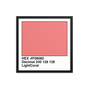 18x18 LightCoral HEX print #F08080.  Artwork and decor for designers and developers.  Great for any workplace or home office.