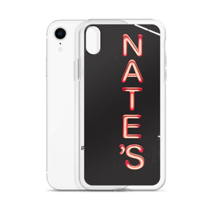 Red neon NATE'S sign, with letters stacked vertically against a dark background.  This case design comes from a photograph taken at night on Sparks Street in Ottawa, Canada.  Ottawa, Canada iPhone Cases.