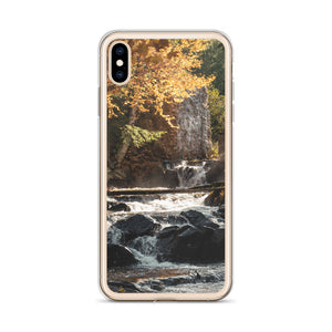 An iPhone case picturing a beautiful autumn waterfall at the Wilson Carbide Mill in Gatineau Park, Quebec.  iPhone cases for hunting, fishing and nature lovers.  iPhone X Case