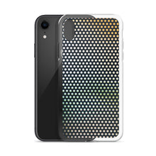 Load image into Gallery viewer, Creative iPhone case featuring macro photography of a window film graphic, with multi coloured lights in the background.  A truly unique iPhone case