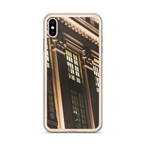 Concrete pillars, lit up at night in Ottawa, Canada can be seen on this street photography iPhone case.  Architectural style iPhone cases