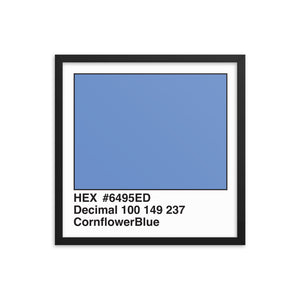 18x18 CornflowerBlue HEX print #6495ED.  Artwork and decor for designers and developers.  Great for any workplace or home office.
