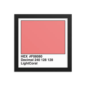 10x10 LightCoral HEX print #F08080.  Artwork and decor for designers and developers.  Great for any workplace or home office.