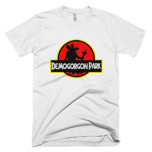 Custom made white t-shirt.  Jurassic Park feel with a Stranger Things twist.