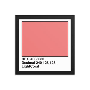 12x12 LightCoral HEX print #F08080.  Artwork and decor for designers and developers.  Great for any workplace or home office.
