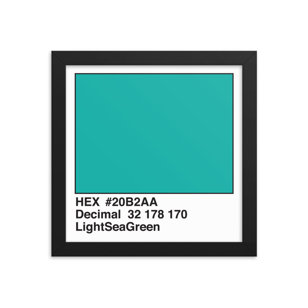 10x10 LightSeaGreen HEX print #20B2AA.  Artwork and decor for designers and developers.  Great for any workplace or home office.